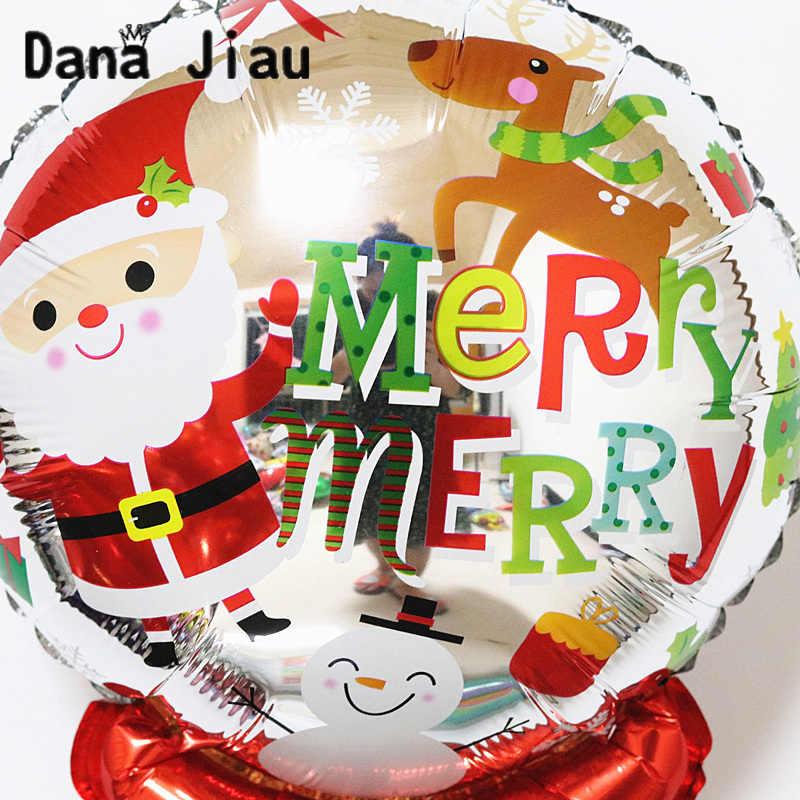 Alegre decoração do natal mão vara balão feliz ano novo caçoa o presente do partido DIY ballon menino Papai Noel boneco de neve árvore de natal bola