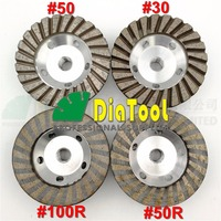 DIATOOL 1pc Diameter 4 inch 5/8 11 Thread Aluminum Based Diamond Grinding Cup Fine Grinding Wheel With Great Finishing