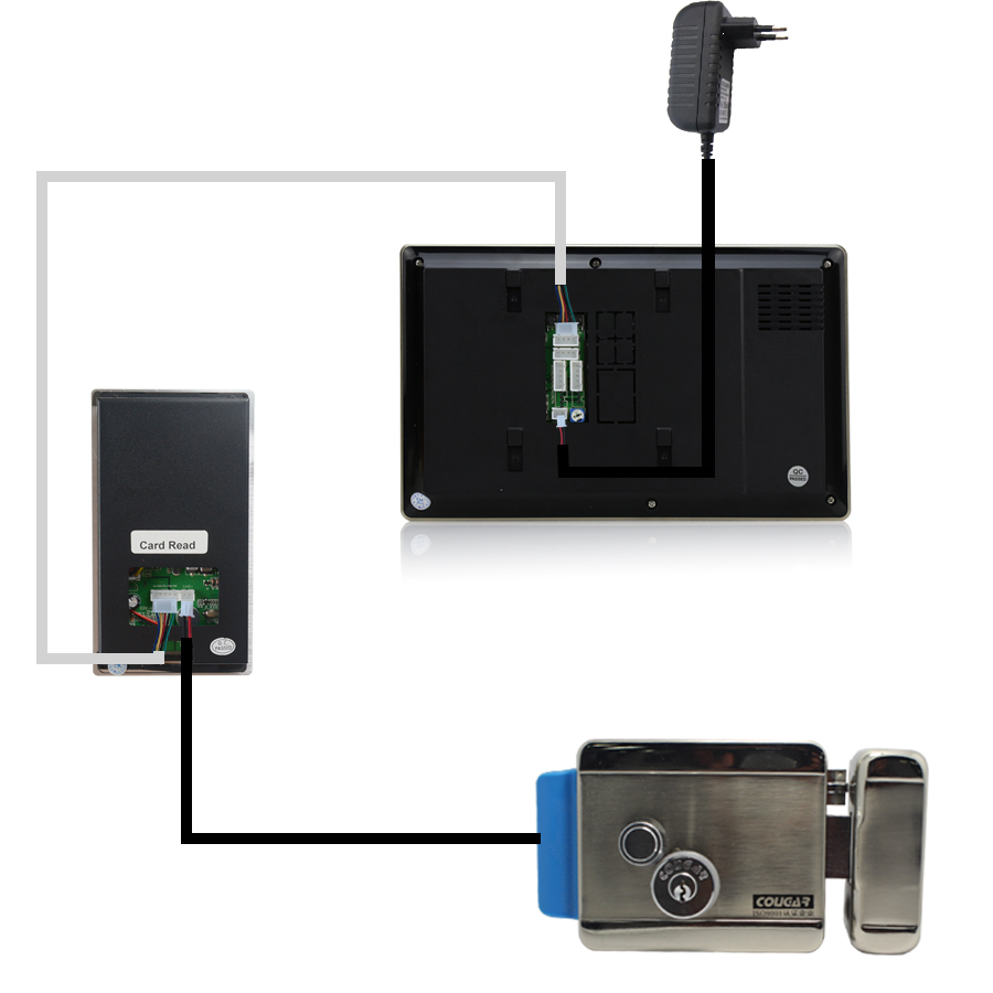 Buy Jeruannew 7 Inch Tft Color Touch Key Video Below Are Wiring Diagrams For The Cat5 Wired Intercom System You To This 12v 3a Power Supply If Use Strike Lock Magnetic And Drop Bolt Etc Please Check Link Diagram Is
