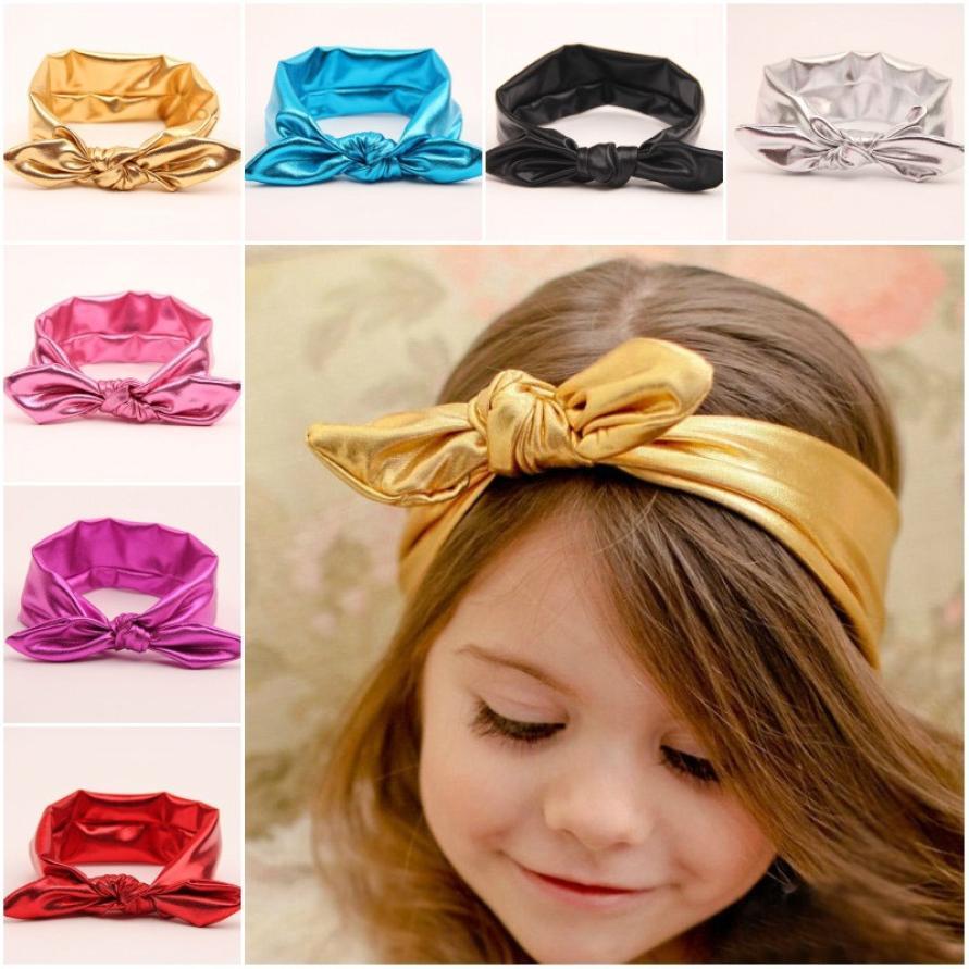 Soft and comfortable Bandanas Girls Rabbit Bow Ear Hairband Turban Knot Tie Head Wraps lederen haar accessoires цены онлайн