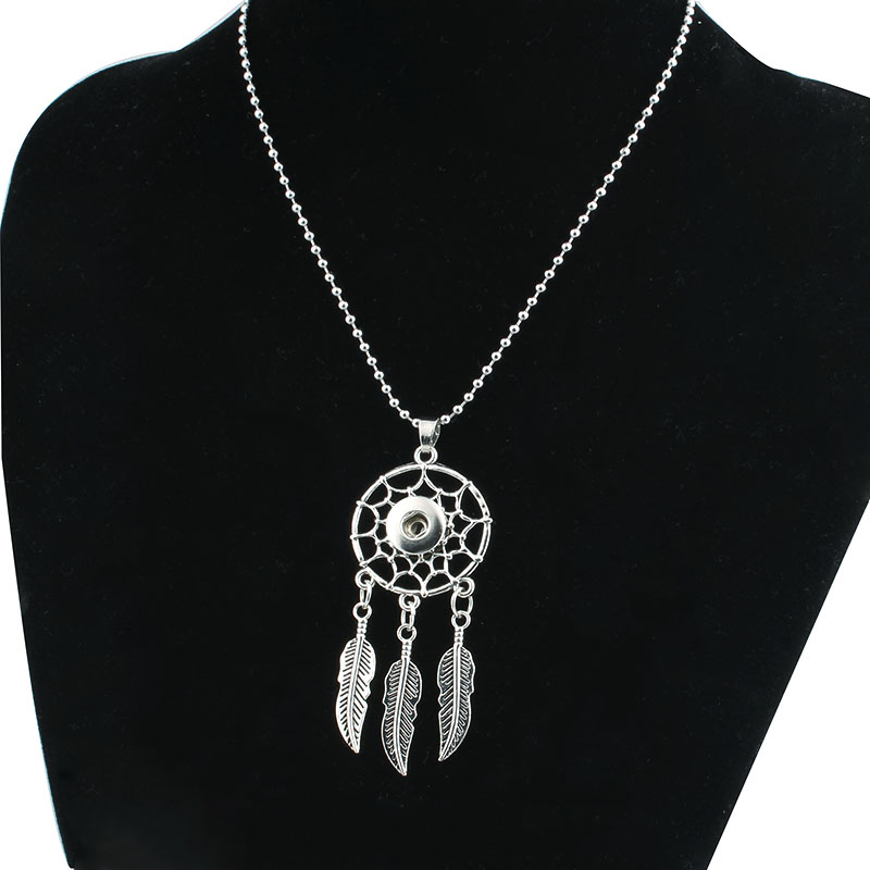New fashion jewelry sets vintage Dream catcher drop dangle DIY 18mm button earring with Snap necklace gift for women girl ZG042