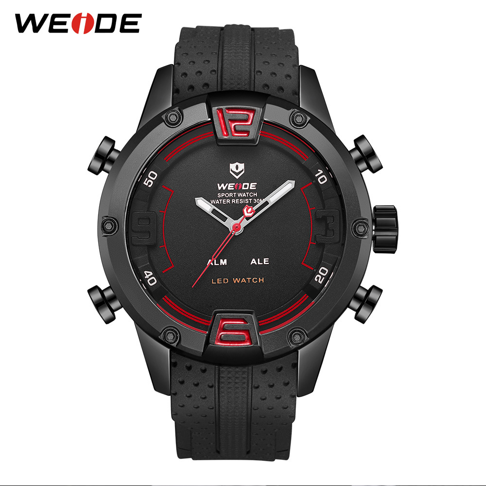 weide sport watches men luxury black leather strap quartz dual time zone analog date men military male clock oversize wristwatch WEIDE Sport Watches For Men Strap Bracelet Analog LED Quartz Military Wristwatch Waterproof Clock Relogio Masculino