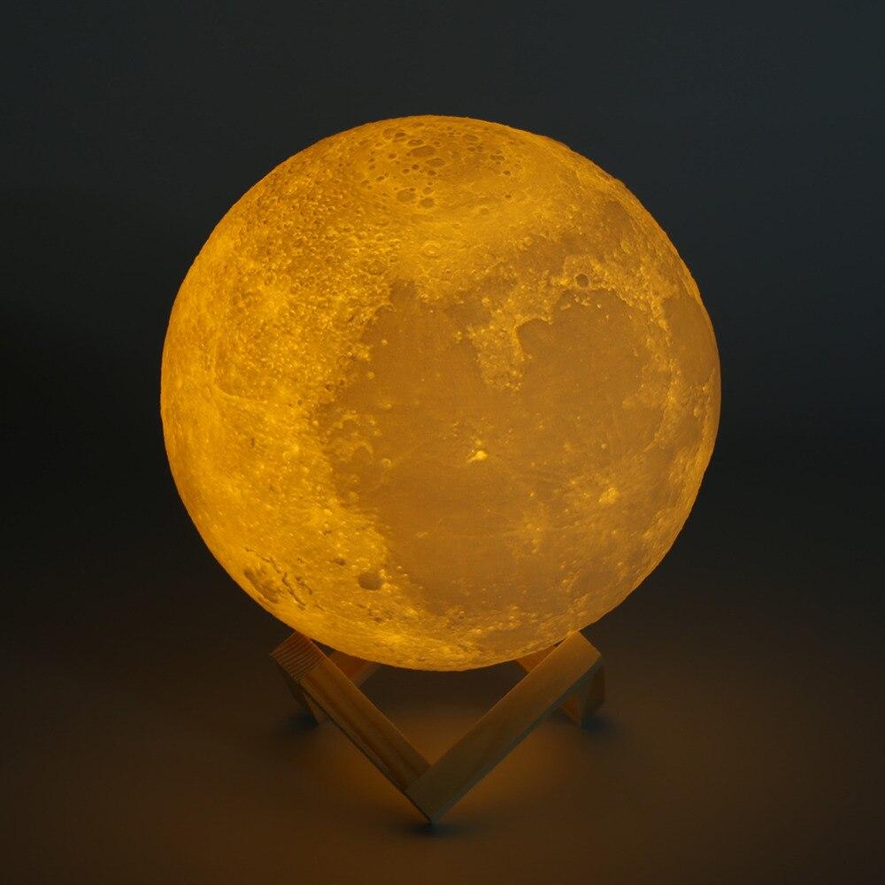 Ricaricabile 3D Stampa Luna Lampada 2/3/7 Cambiamento di Colore Interruttore di Tocco Camera Da Letto Libreria Night Light Home Decor Regalo creativo 8-20 cm Dia