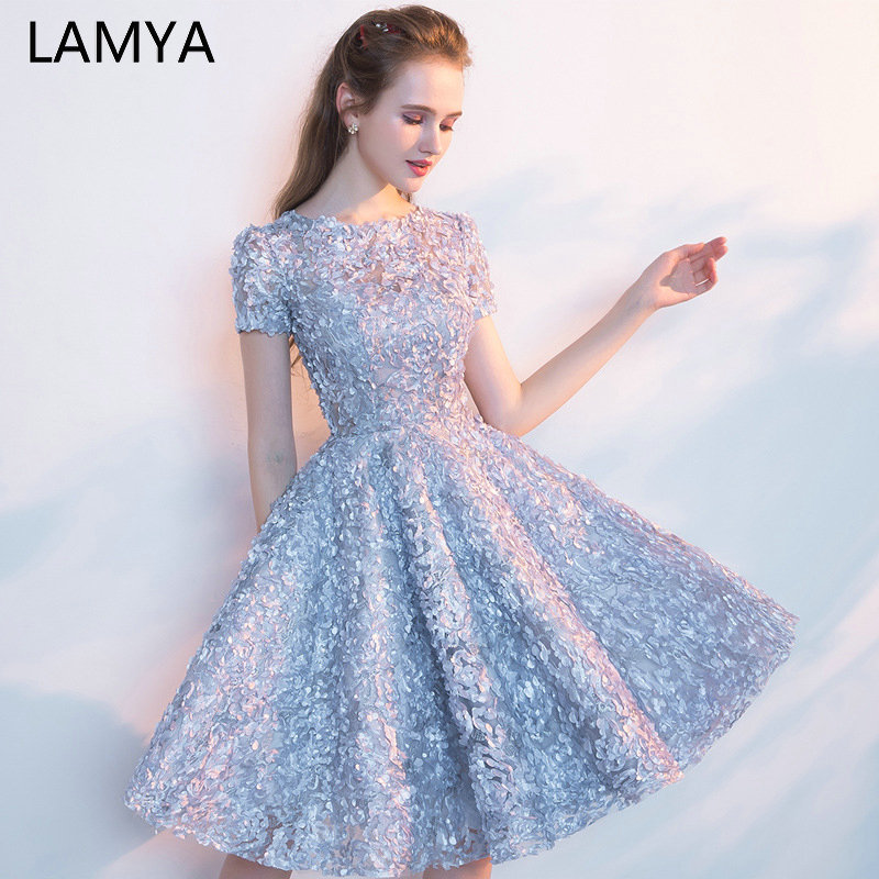 LAMYA Prom-Dresses Short-Sleeve Formal-Gown Robe-De-Soiree Appliques Knee-Length A-Line title=