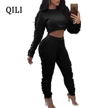 QILI Long Sleeve Ruffles Women Jumpsuits O-neck Black Yellow Army green Full Length Bodycon Jumpsuit Fashion Streetwear