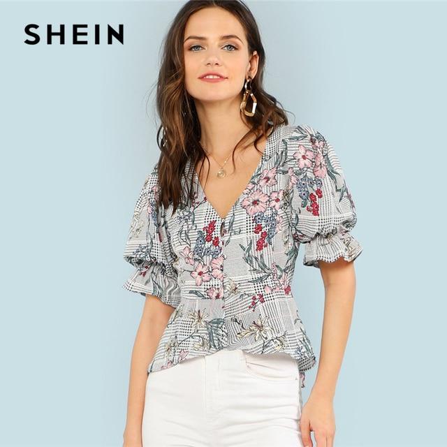 e8427da6e9 SHEIN Mixed Print Ruffle Trim High Low Shirt 2018 Summer V Neck Flounce  Half Sleeve Floral Top Women Beach Asymmetrical Blouse