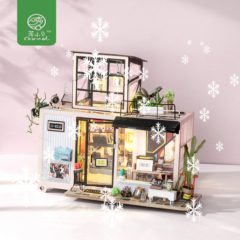 Robud  Doll House with Furniture DIY Miniature Building 3D Wooden Dollhouse Toys for Children Gift for New Year Christmas DG13-in Doll Houses from Toys & Hobbies    1