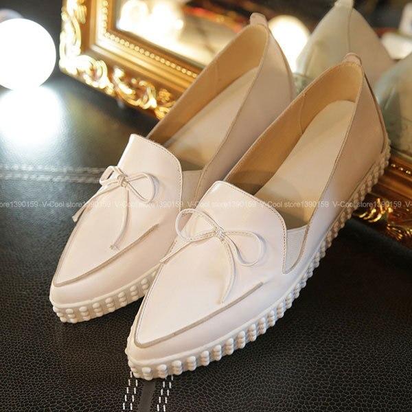 ФОТО New Arrival 2017 brand Woman Loafers Genuine Leather Creepers Bowtie Luxury Female Autumn Shoes Women Sapato Feminina