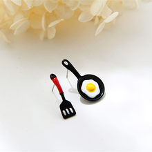 1 Pair Funny Asymmetric Shovel Pan Fried Egg Enamel Earrings Women's Fashion Personality Creative Birthday Gifts For Girlfriend(China)