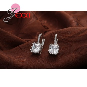 Real   Silver Huggie Lever Back Earrings Luxury Shiny 2 Carat CZ Crystal Cubic Zircon Hot Sale Women Jewelry 2