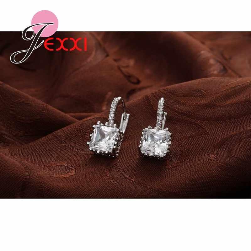 Real   Silver Huggie Lever Back Earrings Luxury Shiny 2 Carat CZ Crystal Cubic Zircon Hot Sale Women Jewelry
