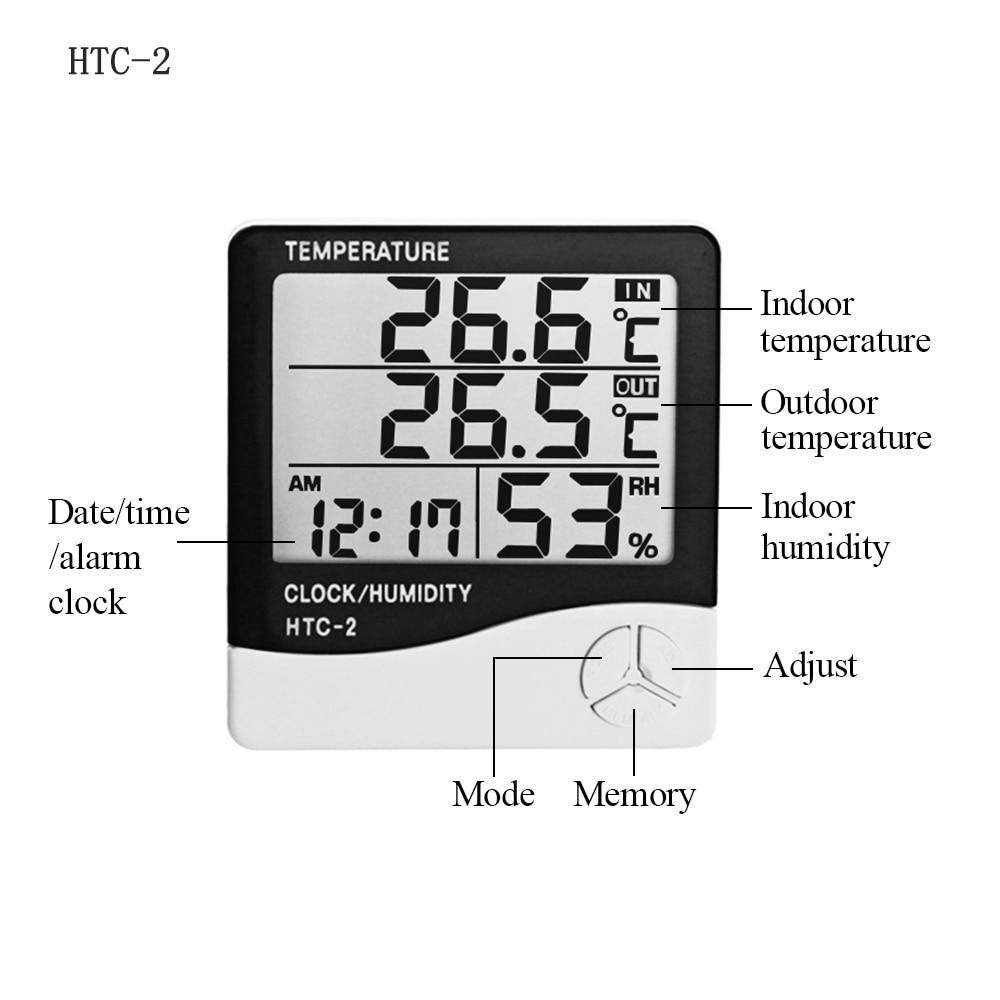 Station météo HTC-1 HTC-2 intérieur extérieur thermomètre hygromètre numérique LCD C/F température humidité mètre réveil