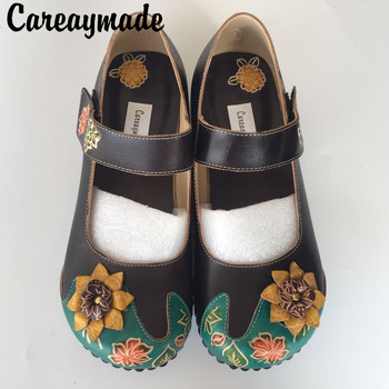 Careaymade-Folk style Head layer cowhide pure handmade Carved shoes,the retro art mori girl shoes,Women's casual Sandals, 228-5