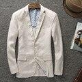 2016 nueva llegada de la Alta calidad de lino natural masculina los hombres de moda casual hebilla delgados juego de la chaqueta más el tamaño Ml XL XXL 3XL