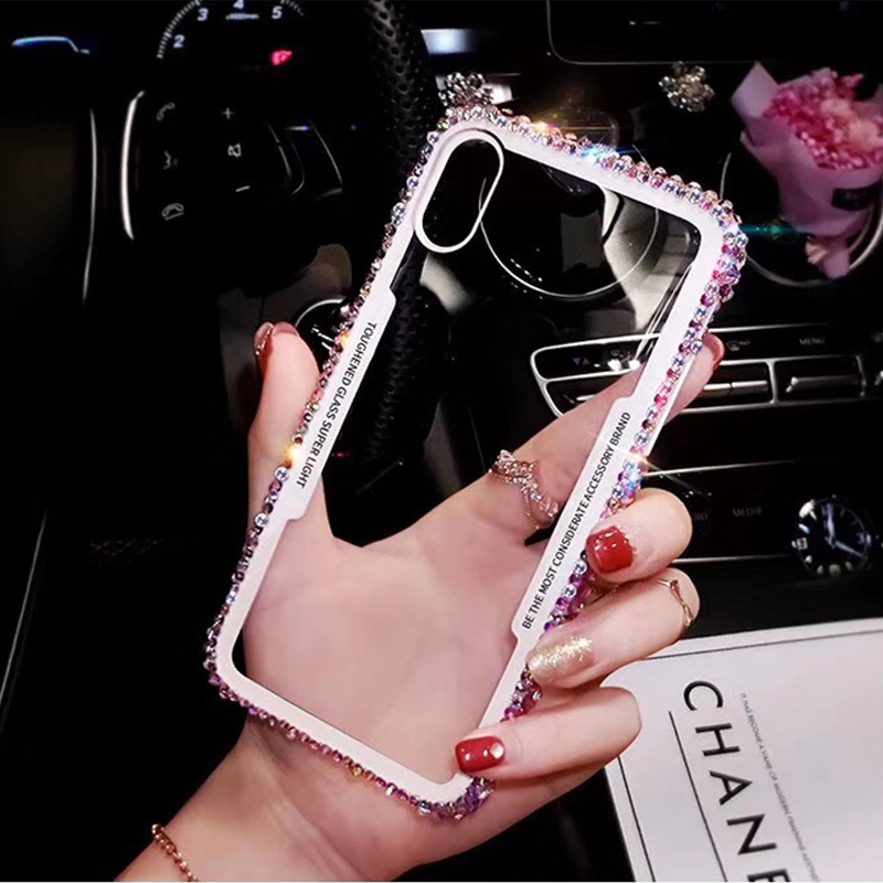Ascromy For iPhone 7 Case Glitter Rhinestone Silicone Bumper Tempered Glass Back Cover For iPhone X 8 Plus 6 6S Capa Accessories (5)