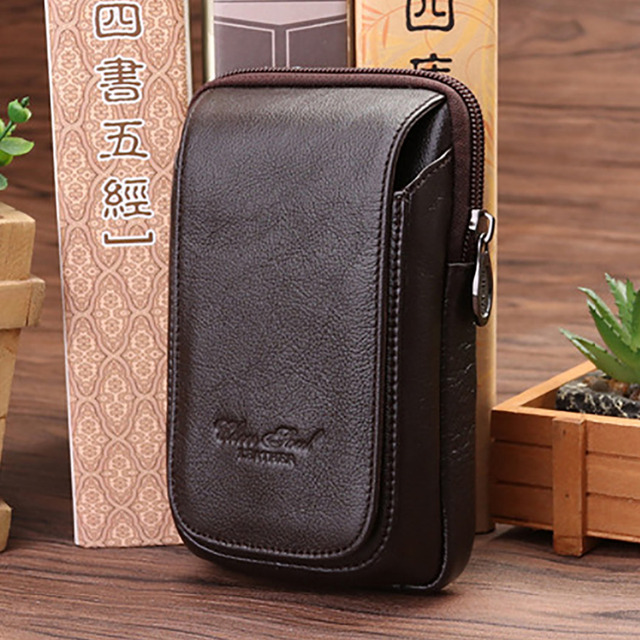 Top Quality Genuine Leather Fanny Waist Pack Hip Bum Cigarette/Key Case New Men Cell/Mobile Phone Purse Small Hook Belt Bag