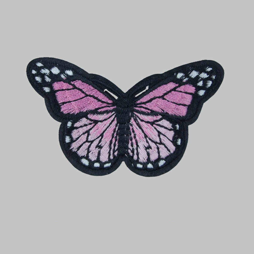 10 pz/lotto Farfalla Toppe e Stemmi Per L'abbigliamento Ricamo Sew Ferro Su Toppe e Stemmi Vestiti In Tessuto Applique Adesivo FAI DA TE Ornamenti Decorativi