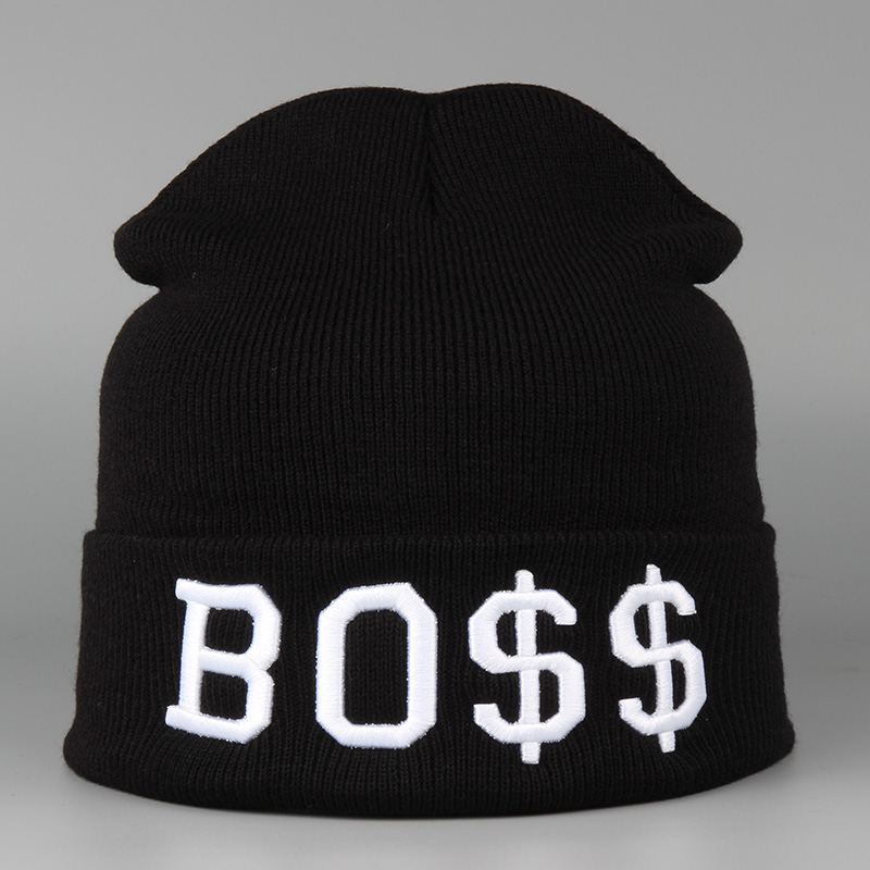 Fashion New Hip Hop Knitted Caps Acrylic Letters BOSS Hats Factory Sale Fashion Simple Cap For Women & Men gorros de lana mujer fashion crochet flower hat cap wool knitted hats for women skullies caps for the old lady s women gorros de lana