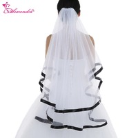Alexzendra White Ivory 2 Tiers Black Ribbon Edge Finger Length Wedding Veil Bridal Veil Veu De Noiva Wedding Accessories
