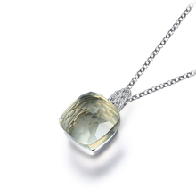 NEW 100% Real Pure 925 Sterling Silver Jewelry Vintage Square Green Quartz Necklace Link Chain Women Fine Jewelry
