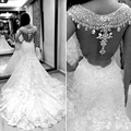 Luxury 2016 New Sexy Bling Bling Crystals White Ivory Lace Mermaid Wedding Dress Vestidos De Noiva Bridal Gowns Wedding Gowns
