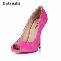 Batzuzhi Élégant Classique Femmes Chaussures PeepToe En Métal Talons Minces Piste Chaussures Femmes Rose et Rouge Designer Chaussures pour Femmes, 43