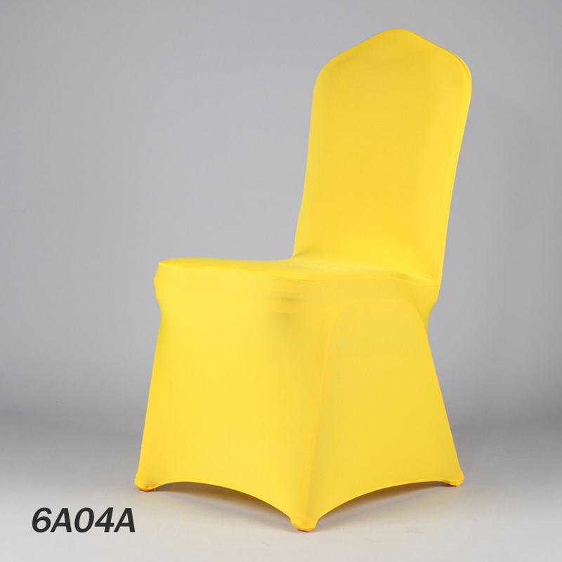 100pcs Extra Thick Dark Yellow Wedding Elastic Stretch Chair Covers Lycra Spandex For Hotel