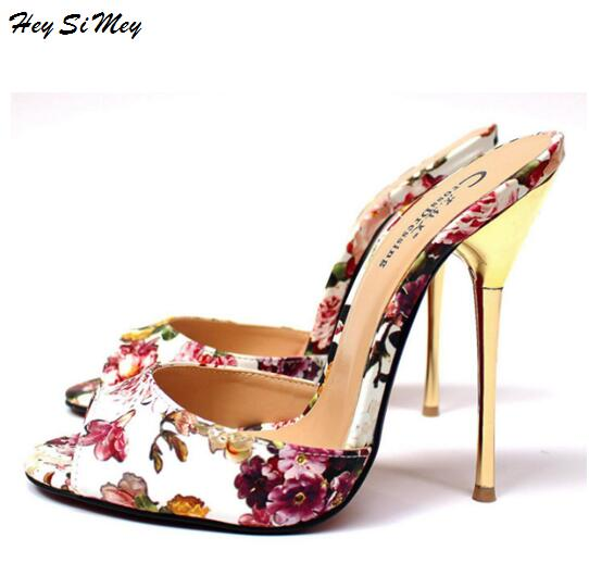 b3b603cd078a2 Hey Si Mey Slippers Top Metal Thin Heels and High heels 13cm 2018 Women Shoes  Slides Drag Queen CD Size 40 48 High -in Slippers from Shoes on  Aliexpress.com ...