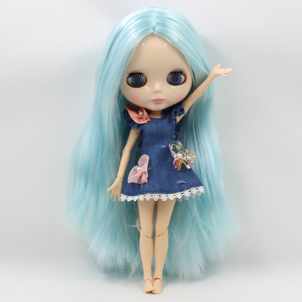 Neo Blythe Doll with Blue Hair, White Skin, Shiny Face & Jointed Body 2