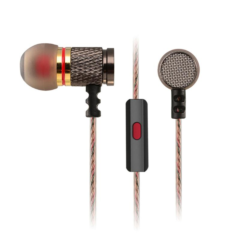 Metal Heavy Bass Earphone 3.5mm HiFi Bass Stereo DJ Music Earbuds Headset Sports Earphones with Microphone for Smartphone PC