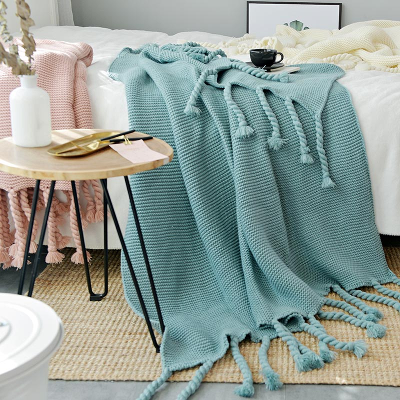 130 170cm Green Plaids Nordic Style Casual Knitted Blankets With Tassel koc narzuta Blankets for Beds