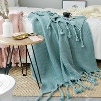 130*170 см зеленые пледы в скандинавском стиле, Повседневное трикотажное одеяло s с кисточкой koc narzuta одеяла для дивана