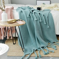 130*170cm Green Plaids Nordic Style Casual Knitted Blankets With Tassel koc narzuta Blankets for Beds Sofa Cover Throw Blanket