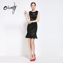 CAMTY Business Work Dress Sleeveless Elegant Mermaid Office Women Fashion Sheath Black Bodycon Female Formal Dress Vestidos 2017