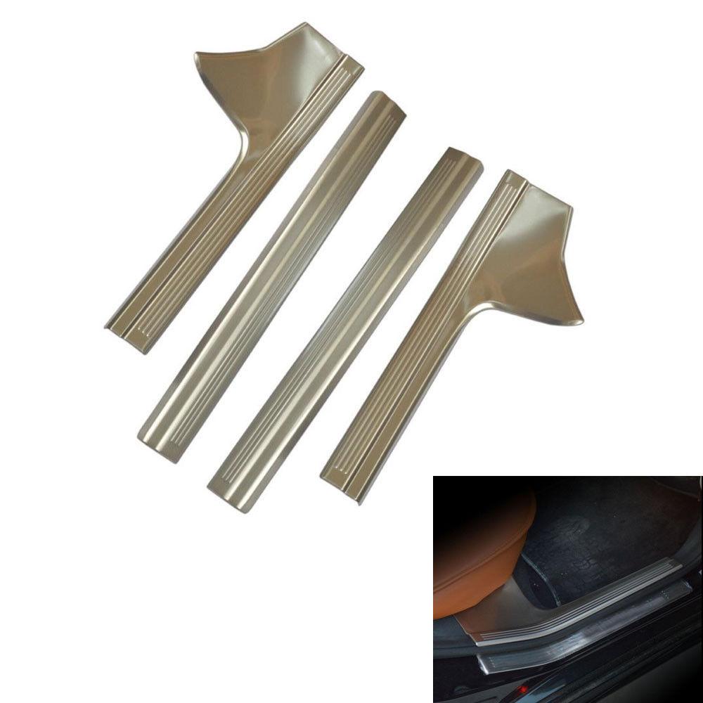 ФОТО BBQ@FUKA 4x Stainless Inner Door Sill Entry Scuff Plate Cover Trim Sticker Fit For Benz W212 E200 E260L E320L E180L E200L E260L