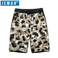 IEMUH Camouflage Summer New Casual Shorts Men Fit Solid Color Shorts Loose Elastic Waist Breathable Beach