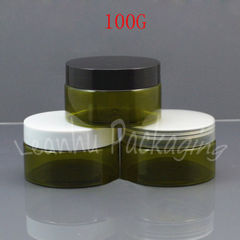 100G Olive Green Plastic Cream Cans , 100CC Mask / Cream Sub-bottling , Empty Cosmetic Container ( 50 PC/Lot )