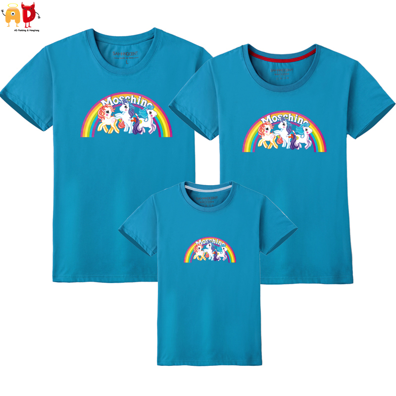 AD 1PCS Pony Rainbow Horse Family Matching T-shirts Mother Daughter Father Son Clothing Couple Clothes Children Kids Top Summer