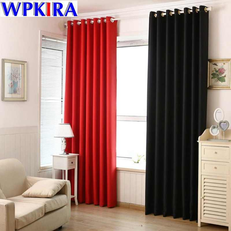Black Thick Curtain Fabric Polyester Blind Blackout Curtains Red Coffee House Curtain Shade Drape Cloth Door White Tulle WP092-3
