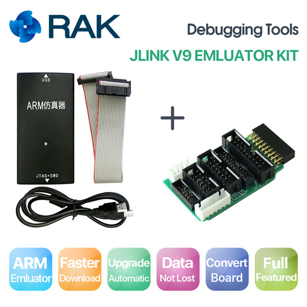 JLINK V9 Emulator Kit Simulator with Convert Board USB Cable AMR Emulator Debugging Tools Support JTAG/Cortex/STM32 Black Q071 programmable usb emulator rs232 interface 15keys numeric keyboard password pin pad yd531 with lcd support epos system