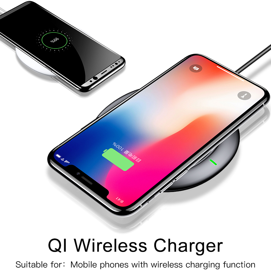baseus qi wireless charging charger for iphone x 8 samsung note 8 s8 s7 s6 edge. Black Bedroom Furniture Sets. Home Design Ideas