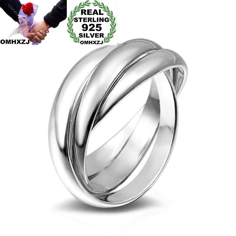 OMHXZJ 925-Sterling-Silver Ring Wedding-Gift Fashion Woman Girl Party RN276 Three-Circles
