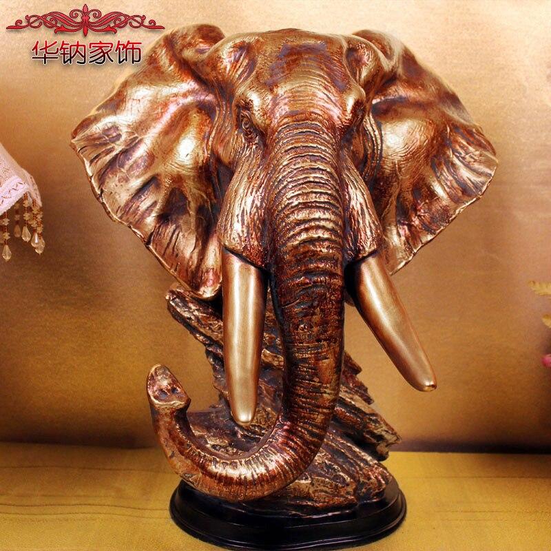 Accessoires de décoration de la maison européenne ameublement artisanat salle étude décorative haute qualité résine décoration éléphant têtes