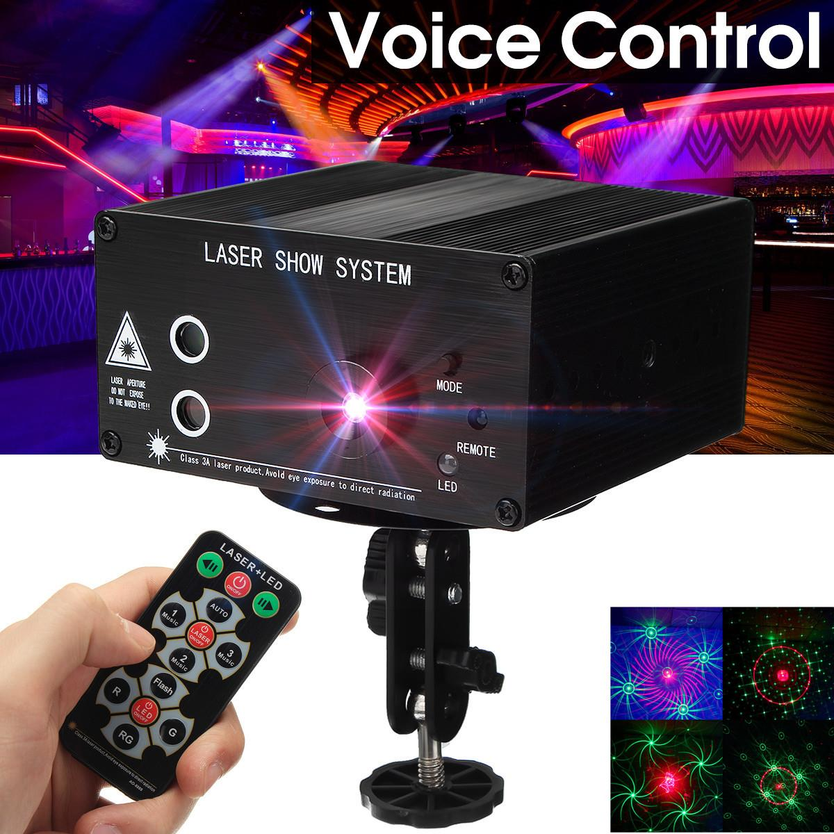 Claite 48 Patterns Sound Control LED Stage Lamp Disco Laser Lighting With Remote Decoration For KTV Pub Party DMX Lumiere Laser sound stage lighting 48 in 1 laser light pattern lamp ktv bar lights flash laser light