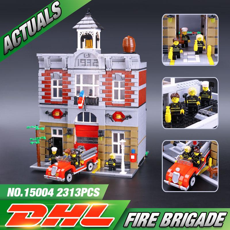 font b LEPIN b font 15004 2313Pcs City Street Creator Fire Brigade Model Building Kits