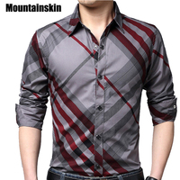 Mountainskin 캐주얼 스트라이프 남성 셔츠 슬림 맞는 남성 사회 셔츠 4XL 브랜드 긴 소매 비즈니스 셔츠 남성 의류 봄 JA171