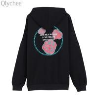 Qlychee Autumn Winter Women Harajuku Fleece Hooded Pullover Rose Letter Print Sweatshirt Casual Oversized Streetwear Tracksuit