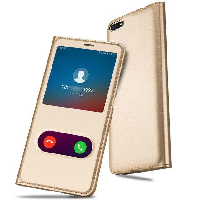 Funda para Huawei Honor 7 S 8X Max Nova 4 Funda de cuero PU con ventana abierta para Huawei Mate 20 Lite P Smart 2019 Coque Capa