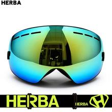 HERBA Men and Women Outdoor Sports Large Spherical Anti Fog Lens Eyewear Skiing and Snowboarding Goggle Motocross Glasses