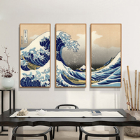 Traditional Japanese Painting Of The Great Wave Off Kanagawa Popular Seascape Combination Painting Unframed Canvas Print